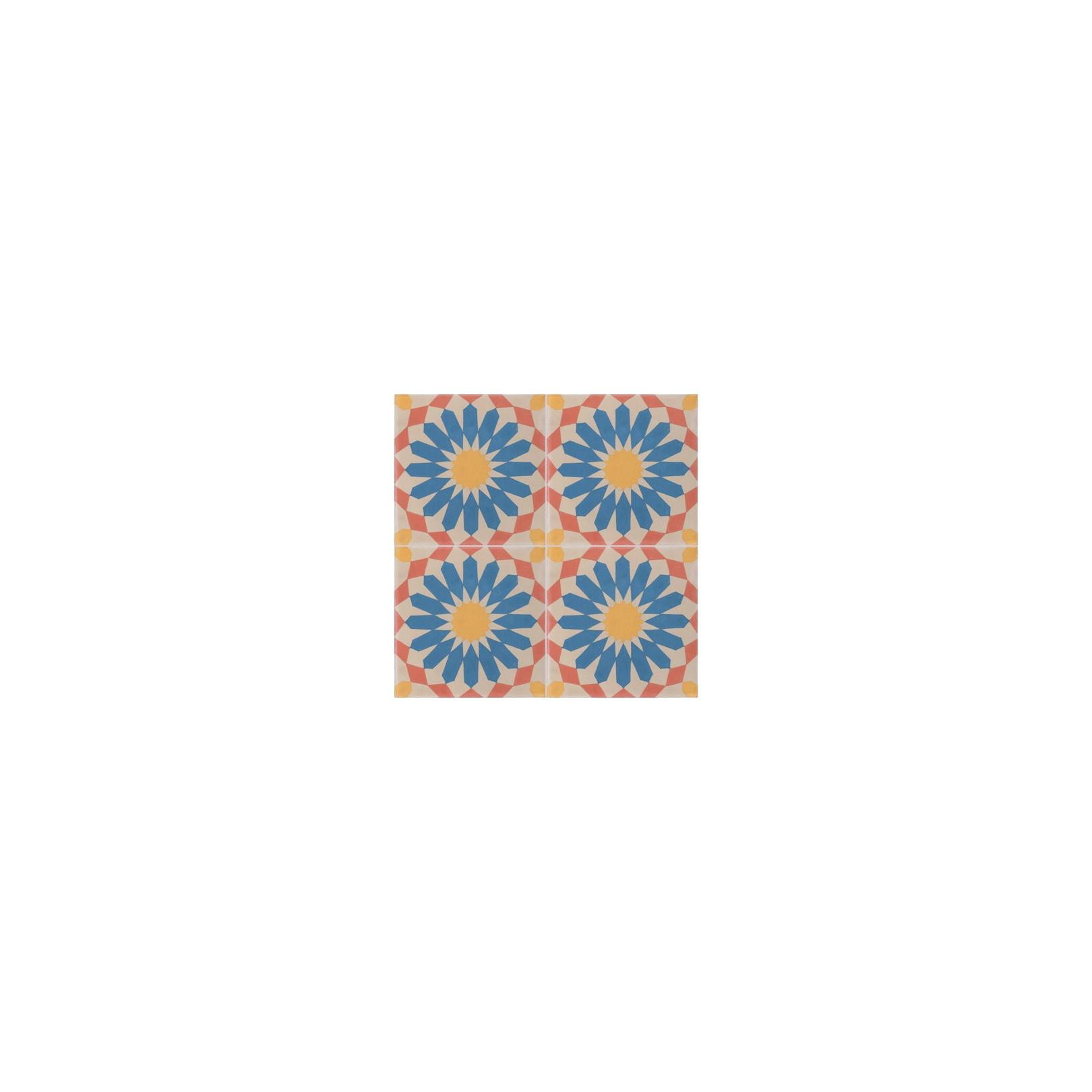 Carreau de ciment coloré motif 4 carreaux beige, rouge, jaune et bleu RE 37.14.13.20