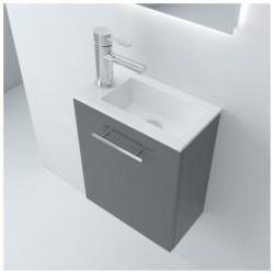 Meuble lave main suspendu Micro, stratifié bois ou laqué avec plan vasque céramique