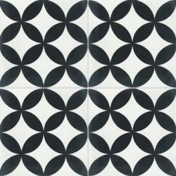 4 Carreaux de ciment coloré blanc et noir NB 01