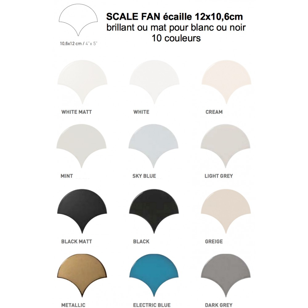Carrelage Mural Fa 239 Ence Scale Fan 10 Couleurs 233 Caille