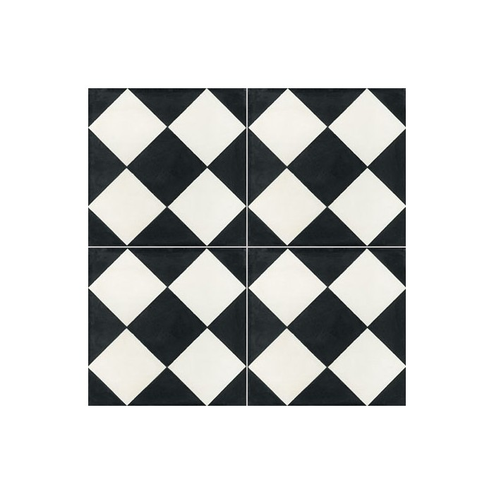 Carreau de ciment color damier noir et blanc nb05 for Carrelage damier noir et blanc 20x20