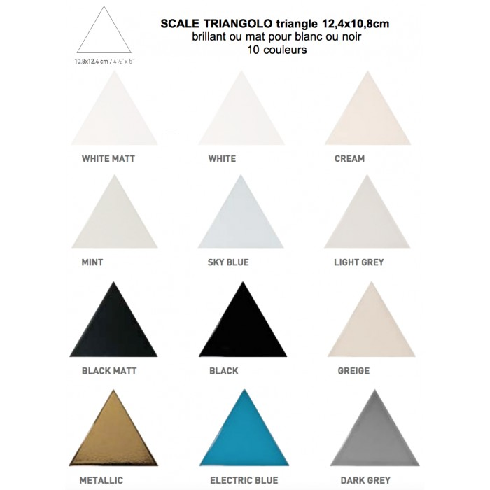 carrelage mural faïence scale triangolo (10 couleurs), triangle 12