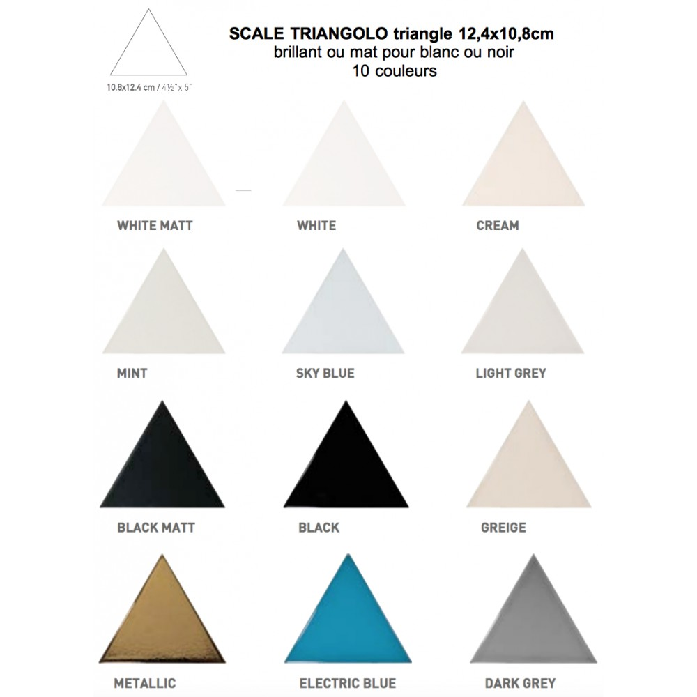Carrelage mural faïence Scale Triangolo (10 couleurs), triangle 12,4x10,8cm