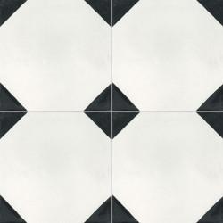 4 Carreaux de ciment coloré noir et blanc NB06