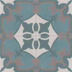 Carreau de ciment coloré motif 4 carreaux bleu, bleu canard, gris et gris moyen ROYAN 07.39.40.27