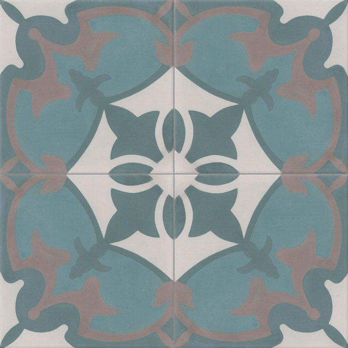 carreau de ciment color motif 4 carreaux bleu bleu canard gris et gris moyen royan. Black Bedroom Furniture Sets. Home Design Ideas