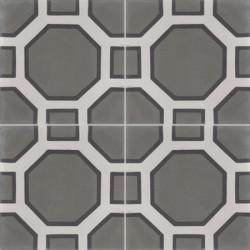 Carreau de ciment coloré motif 4 carreaux gris moyen, gris et noir PETER 32.07.01