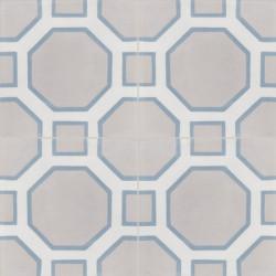 Carreau de ciment coloré motif 4 carreaux gris moyen, gris et bleu PETER 07.06.10