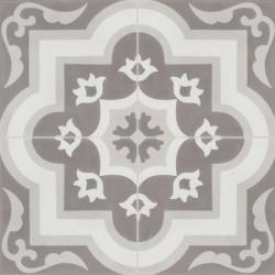 Carreau de ciment coloré motif 4 carreaux gris moyen, gris et gris foncé OLIVIER 27.07.10