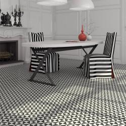 Carrelage grès effet carreau ciment 1900 Terrades Grafito, noir et blanc, 20x20cm