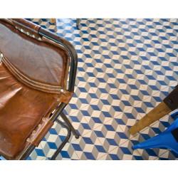 Carrelage grès effet carreau ciment 1900 Güell 1, motif cube 3D, 20x20cm