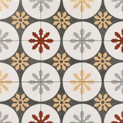 Carrelage grès effet carreau ciment Three Capitals centro Praga crème , anthracite, gris, jaune et bordeaux