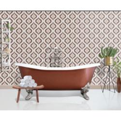 Carreau de ciment coloré motif 4 carreaux beige, crème, taupe et marron OSLO 07.35.36.37