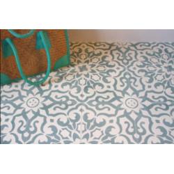 Carreau de ciment coloré motif 4 carreaux bleu et gris BREHAT 07.39