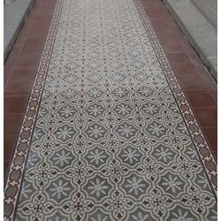 Carreau de ciment coloré motif 4 carreaux gris moyen, crème, greige et marron TROUVILLE 07.27.35.36