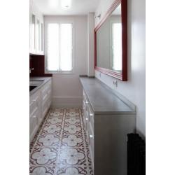 Carreau de ciment coloré motif 4 carreaux crème, gris et bordeaux T31 10.07.11