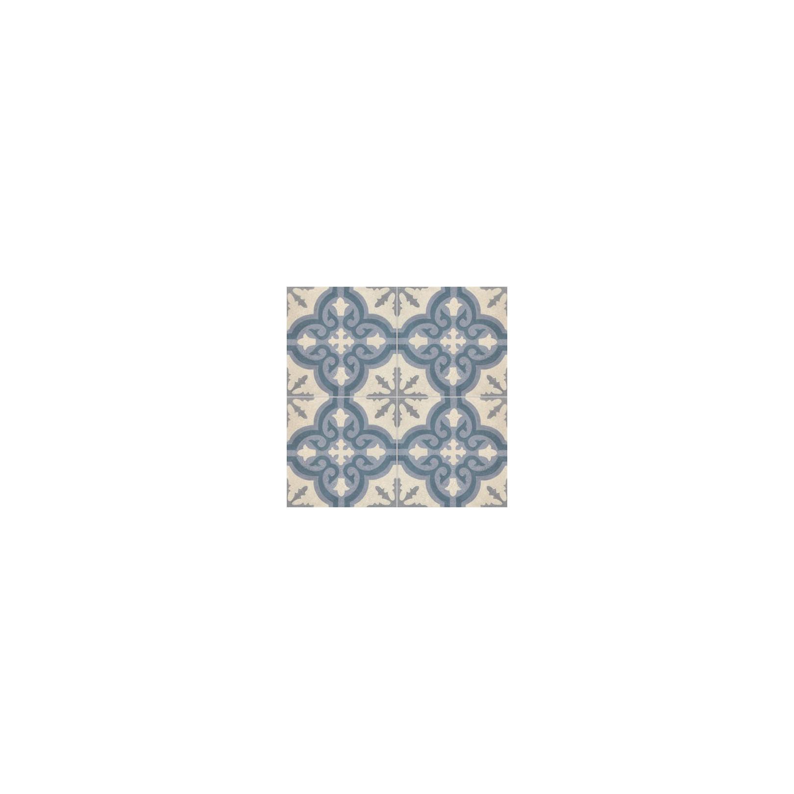 Carreau de stone wash motif 4 carreaux bleu, bleu foncé, crème et gris TROUVILLE SW 33.37.27.30