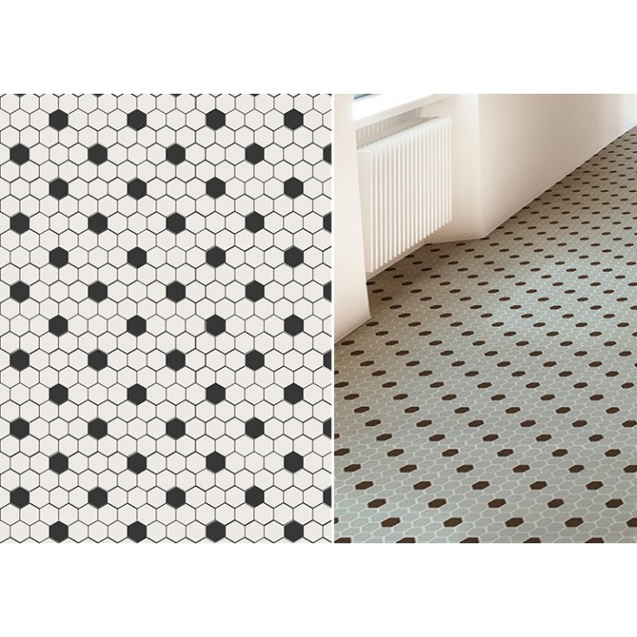 Mosaique Hexagone 2 6x2 2cm Art Factory Motif Dots Noir Et Blanc 2 Finitions Casalux Home Design