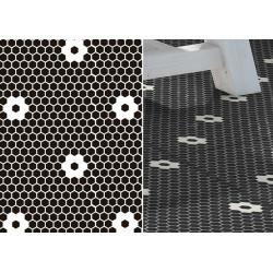 Mosaïque hexagone 2,6x2,2cm motif Flores HX noir et blanc (2 finitions)