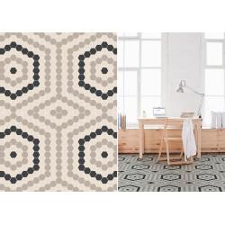 Mosaïque hexagone 2,6x2,2cm motif Radial taupe, beige et noir (2 finitions)