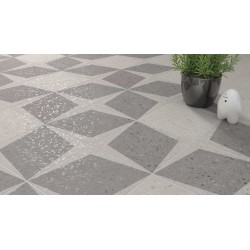 Carrelage grès cérame effet terrazzo Drops Rhombus Decor (3 couleurs), 18,5x18,5cm