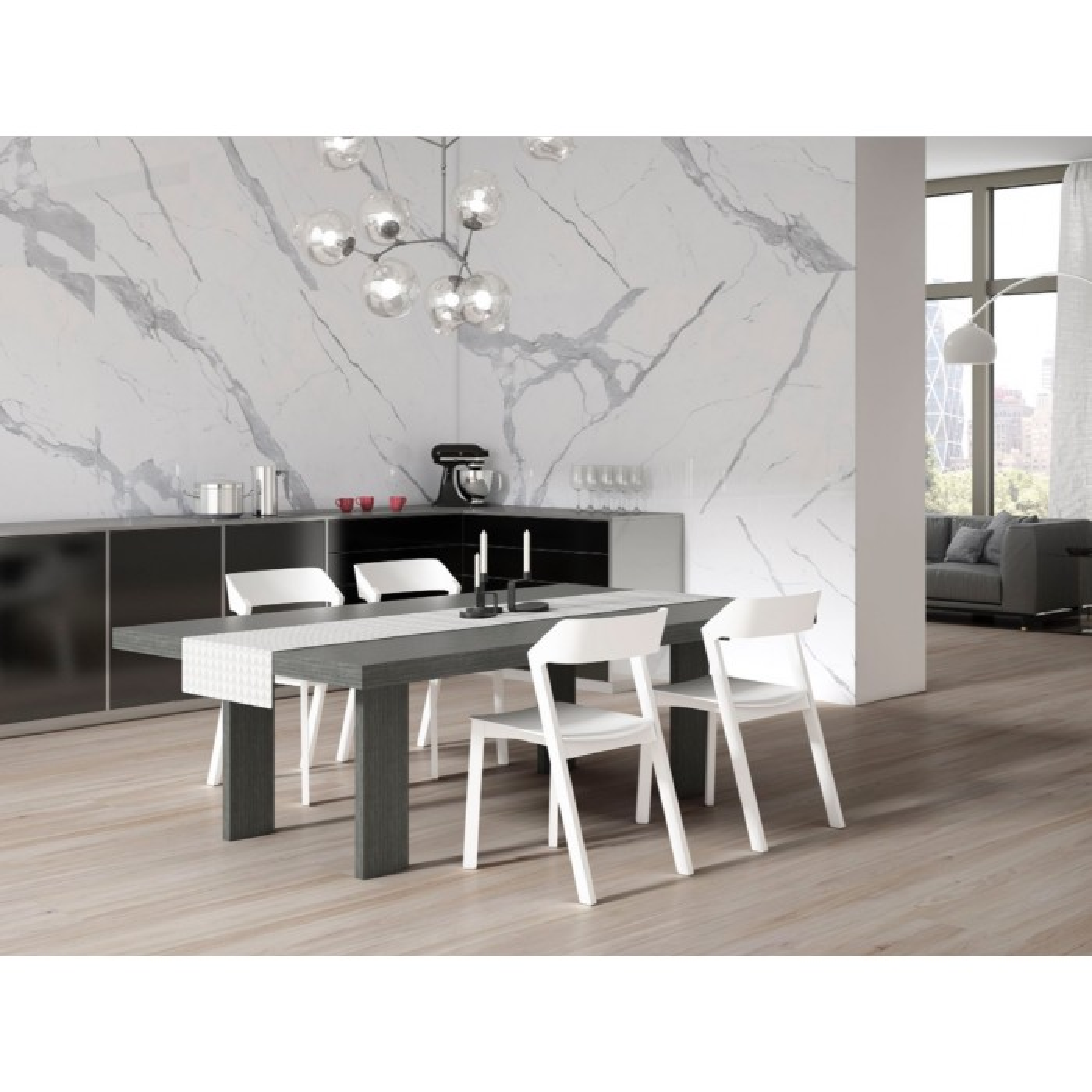 Carrelage grès cérame effet marbre Statuary Extra White, rectifié