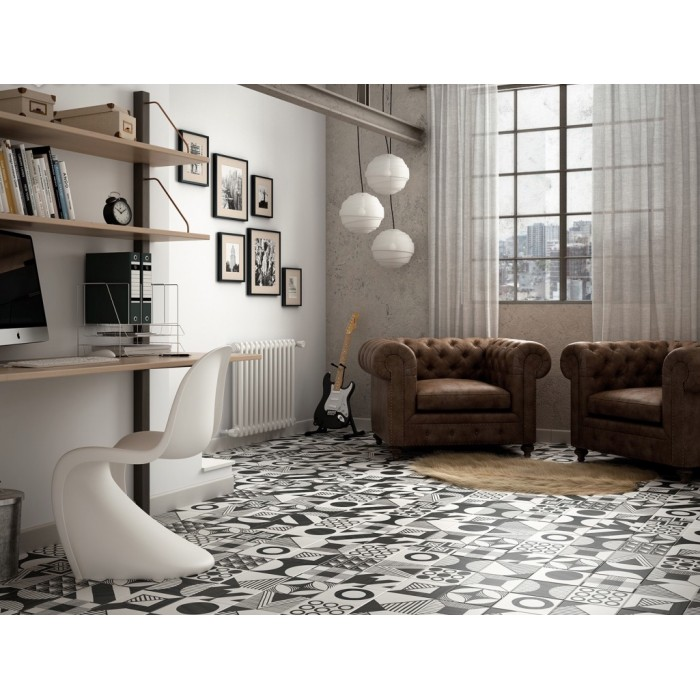 carrelage gr s c rame effet carreau ciment caprice deco b w patchwork casalux home design. Black Bedroom Furniture Sets. Home Design Ideas