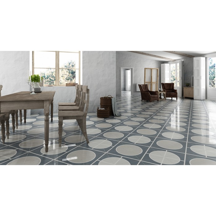Carrelage gr s c rame effet carreau ciment encaustic 2 0 for Carrelage gris clair brillant