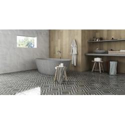 Carrelage grès cérame effet carreau ciment Encaustic 2.0 Coal Decor lappato