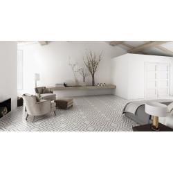 Carrelage grès cérame effet carreau ciment Encaustic 2.0 White Decor lappato