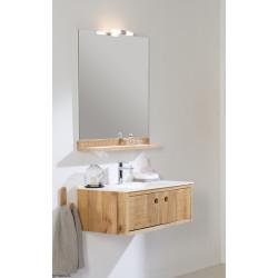 Meuble bain suspendu Femty bois et simple vasque centrée ou desaxée résine, largeur 80 ou 100cm