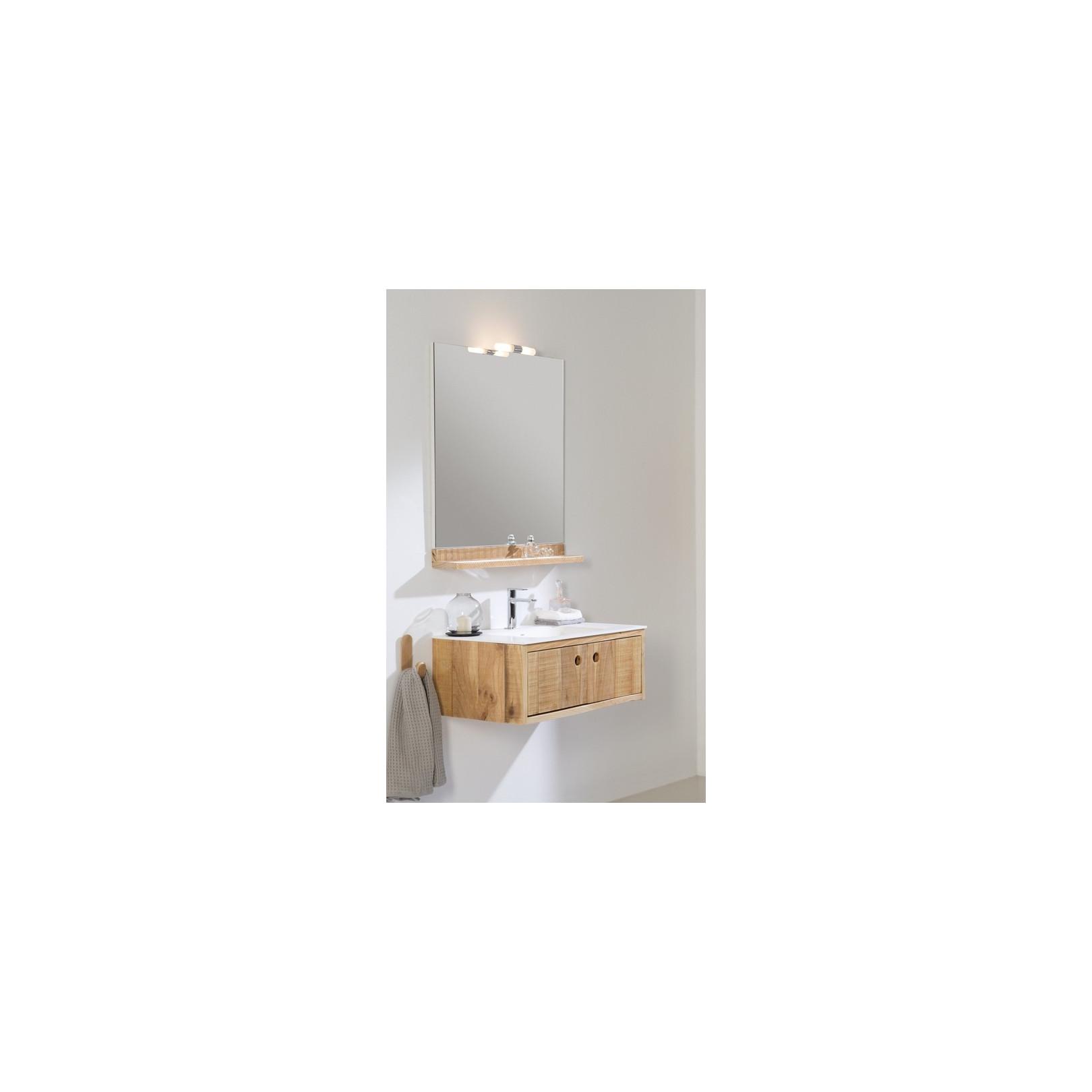 Meuble bain suspendu Femty bois et simple vasque centrée ou desxaxée résine, largeur 80 ou 100cm