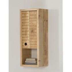 Colonne de rangement bain suspendue Femty, bois massif, 1 porte et 3 étages