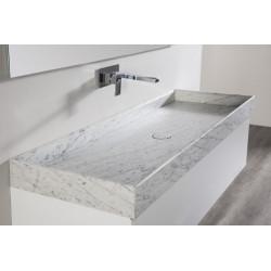 Meuble bain suspendu Marmor Carrare laqué blanc mat ou satiné et vasque marbre Carrare