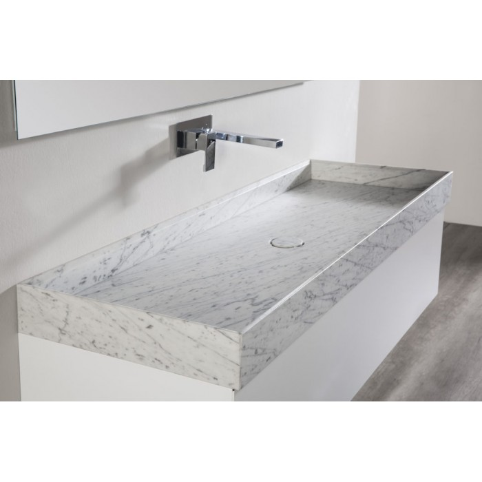 Meuble bain suspendu Marmor laqué blanc mat ou satiné et vasque marbre Carrare ou Lobo