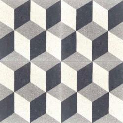 Carreau de terrazzo motif gris, noir et blanc Cube 01.10.27