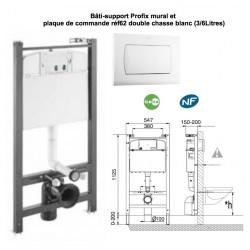 Pack bâti-support Profix mural et plaque de commande double débit P62 , pour wc suspendu