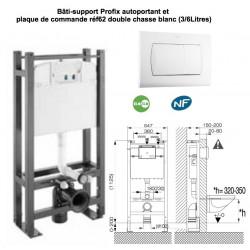 Pack bâti-support Profix auto-portant et plaque de commande double débit P62 , pour wc suspendu