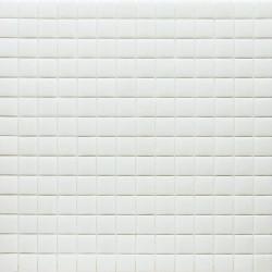 Mosaïque Unicolor 2,5x2,5cm blanc 103 mat ou brillant ou antidérapant sur trame nylon 33,3x33,3cm (48 couleurs)