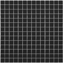 Mosaïque Unicolor 2,5x2,5cm noir 101 mat ou brillant ou antidérapant sur trame nylon 33,3x33,3cm