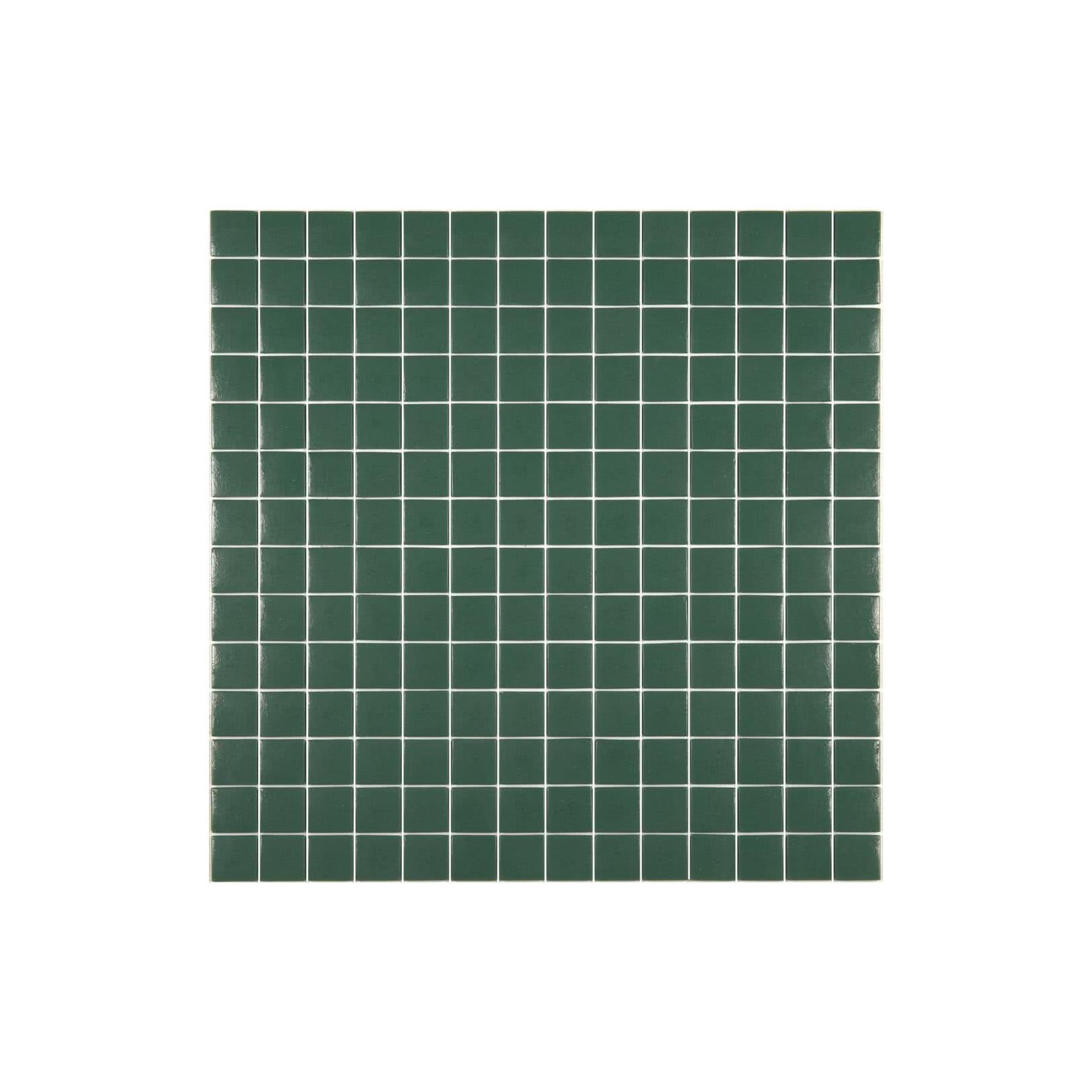 Mosaïque Unicolor 2,5x2,5cm vert foncé 220 mat ou brillant ou antidérapant sur trame nylon 33,3x33,3cm
