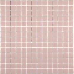Mosaïque Unicolor 2,5x2,5cm rose pastel 255 mat ou brillant ou antidérapant sur trame nylon 33,3x33,3cm