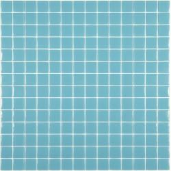 Mosaïque Unicolor 2,5x2,5cm bleu piscine 335 mat ou brillant ou antidérapant sur trame nylon 33,3x33,3cm