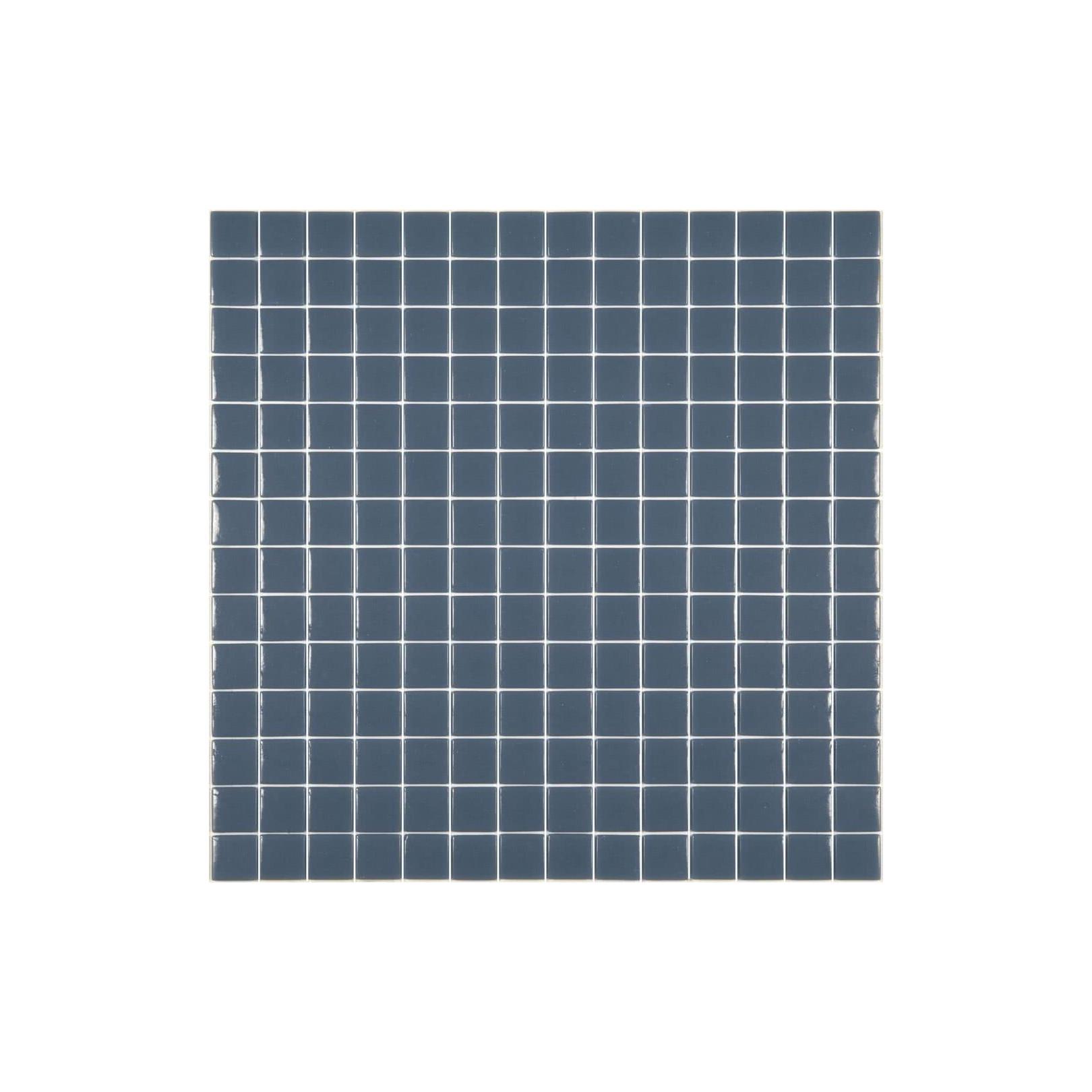 Mosaïque Unicolor 2,5x2,5cm bleu militaire 318 mat ou brillant ou antidérapant sur trame nylon 33,3x33,3cm