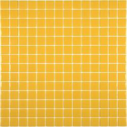 Mosaïque Unicolor 2,5x2,5cm jaune 231 mat ou brillant ou antidérapant sur trame nylon 33,3x33,3cm