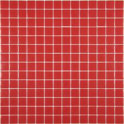 Mosaïque Unicolor 2,3x2,3cm rouge 176 mat ou brillant ou antidérapant sur trame nylon 33,3x33,3cm