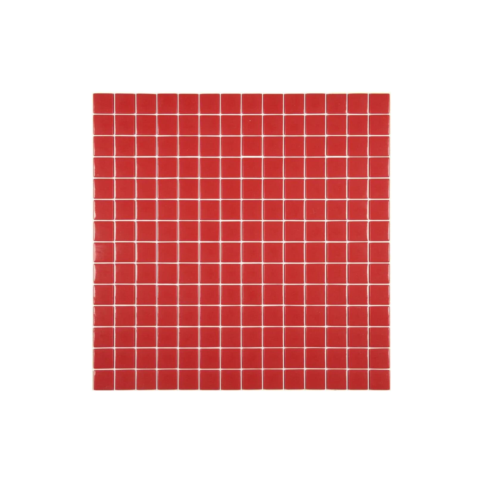 Mosaïque Unicolor 2,5x2,5cm rouge 176 mat ou brillant ou antidérapant sur trame nylon 33,3x33,3cm