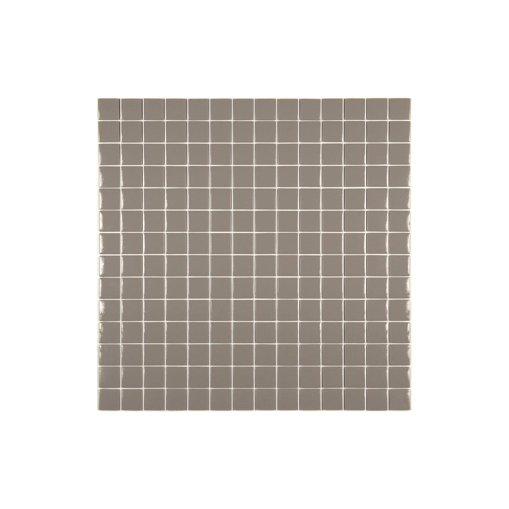 Mosaïque Unicolor 2,5x2,5cm taupe 324 mat ou brillant ou antidérapant sur trame nylon 33,3x33,3cm