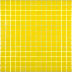 Mosaïque Unicolor 2,5x2,5cm jaune citron 302 mat ou brillant ou antidérapant sur trame nylon 33,3x33,3cm