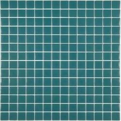Mosaïque Unicolor 2,5x2,5cm bleu canard 127 mat ou brillant ou antidérapant sur trame nylon 33,3x33,3cm